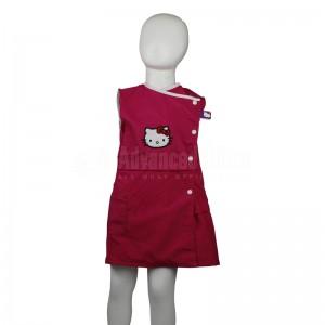 Robe tablier primaire VERTEX TAB-RS002, Fermeture côté gauche à boutons, Sans manches, Rose Motif Hallo kitty pour Fille 4-5-6 ans avec Bavette