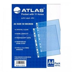 Rame de pochettes perforées plastique ATLAS A4 80 mic