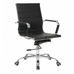 Chaise opérateur TXW-2007 en simili cuir Noir avec accordoir piétement métallique