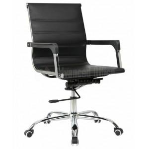Chaise opérateur TXW-6007 en simili cuir Noir avec accordoir piétement chromé