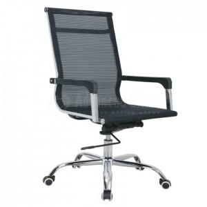 Chaise opérateur filet TXW-7006 siège en tissu Noir avec accoudoir, Piètement Chromé