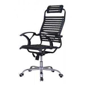 Chaise directionnelle filet siège en tissu noir avec repose tête piètement métallique