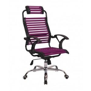 Chaise directionnelle filet siège en tissu Violet avec repose tête piètement métallique