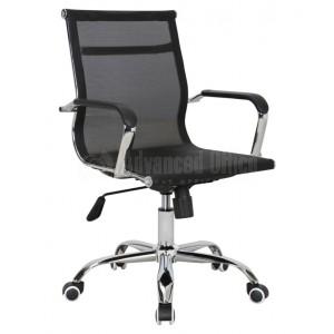 Chaise opérateur filet TXW-3005 siège en tissu Noir avec accoudoir, Piétement Chromé