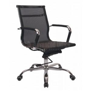 Chaise opérateur filet TXW-2005 siège en tissu Noir avec accoudoir, Pied Chromé