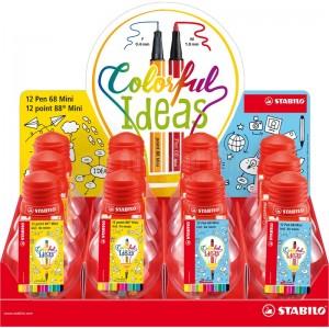 Jeu de 12 Stylos STABILO Colorfull ideas Point 88 Mini Fine 0.4mm inclus 4 couleur néon  -  Advanced Office