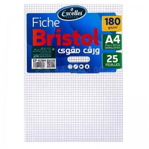 Pochette papier Bristol EXCELLES quadrille 5*5 A4 170g 25 Feuilles Blanc  -  Advanced Office Algérie