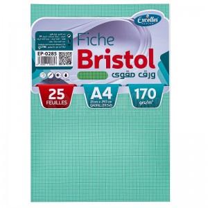 Pochette papier Bristol EXCELLES quadrille 5*5 A4 170g 25 Feuilles Vert  -  Advanced Office Algérie