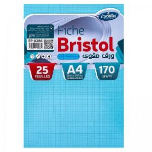 Pochette papier Bristol EXCELLES quadrille 5*5 A4 170g 25 Feuilles Bleu  -  Advanced Office Algérie