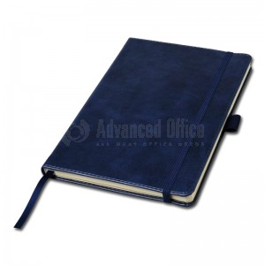 Notebook A5 bleu marine couverture rigide en simili cuir de 192 pages  -  Advanced Office