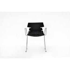 Chaise visiteur MODUS Luge avec accoudoir Série CT, Noir