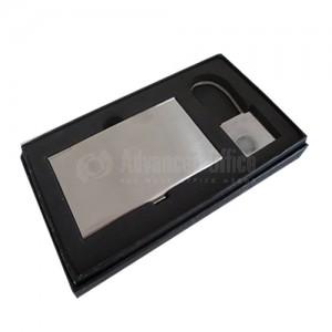 Coffret porte cartes de visite + porte clé chromé