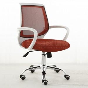 Chaise opérateur filet siége en tissu Rouge piétement métallique  -  Advanced Office ALgérie