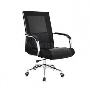 Chaise opérateur 616B en Simili cuir Noir avec accoudoir, Pied Chromé