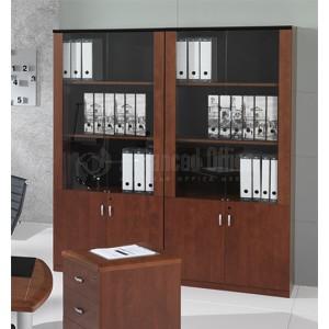Bibliothèque STYLUS 1.9 x 0.43 x 0.20m + 2 portes vitrées + 2 portes en bois