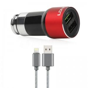 Chargeur Adaptateur Automobile LDNIO Auto-ID C303, 2 Ports USB 3.6A avec câble Data Lightning pour téléphone portable iOS