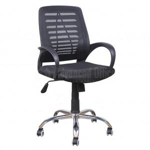 Chaise opérateur filet K7 siège en tissu Noir avec accoudoir, Piétement Chromé - Advanced Office