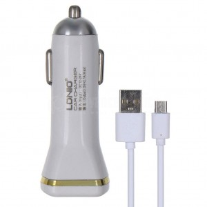Chargeur Adaptateur Automobile LDNIO Auto-ID 2 Ports USB 3.1A avec câble Data pour téléphone portable Android/iOS