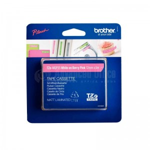 Recharge BROTHER 12mm blanc/rose mat PT-H300