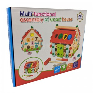 Jeux éducatif en bois Multi-function assembly of smart house jeu d'assemblage Maison Puzzle Chiffres et Formes, Xylophone avec outils construction pour enfant +3 ans