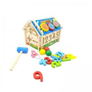 Jeux éducatif en bois Multi-functional Intelligent house jeu d'assemblage Maison Puzzle Chiffres et Formes, Horloge avec petite marteau de construction pour enfant +3 ans