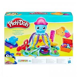 Jeu éducatifs pack 5 pots de pâte à Modeler PLAY-DOH XS0800 Cranky the Octopus - Ocean Friends 5 couleurs 280g avec Moules