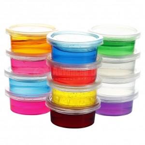 Pack 12 Pots de Pâte à Modeler en Gel transparent PLAY DOUGH Crystal mud Multi couleurs