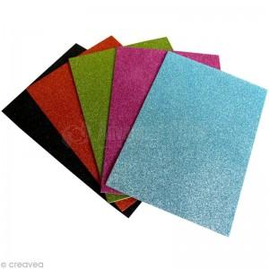 Feuilles en mousse Adhésif à Paillettes TECHNO 10 couleurs assorties A4 21 x 29.7cm 2mm  -  Advanced Office