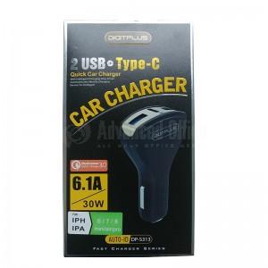 Chargeur auto DIGITPLUS DP-S313 Quick charge 3.0 6.1A/30W, 2 USB, Type-C avec câble Micro USB pour Smartphone et Tablette, Noir
