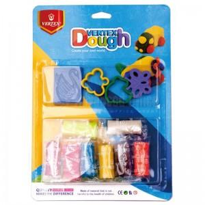 Pâte à Modeler VERTEX Dough sur carte GM, 8 couleurs, 3 moules 1 rouleau