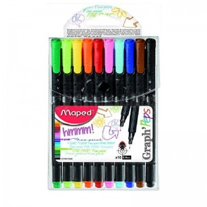 Pack 10 feutres pointe fine MAPED Graph'peps Duo 0.4mm Triangulaire 20 Couleurs  -  Advanced Office