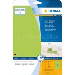 Rame étiquettes fluoresante HERMA A4 Vert  -  Advanced Office