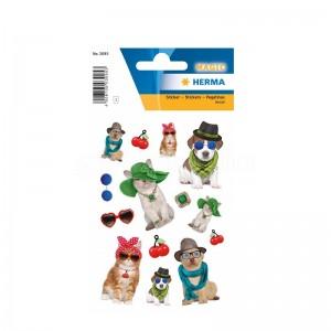 Etiquette Stickers magique HERMA Animaux avec chapeaux, bijoux
