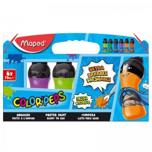 Boite de peinture gouache MAPED Color'Peps Maga opaque, Lavable 6 Couleurs, 75ml  -  Advanced Office