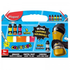 Boite de peinture gouache MAPED Color'Peps Maga opaque, Lavable 5 Couleurs  -  Advanced Office