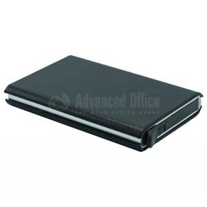 image. Porte carte magnétique à mécanisme 141-7 Métallique coque en simili cuir Noir  -  Advanced Office Algérie