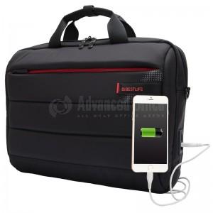 """image.Cartable porte PC BESTLIFE CPlus Black BBC-3335BK 15.6"""", Port USB et USB Type C Externe avec couvercle anti-poussière, Noir  -  Advanced Office Algérie"""