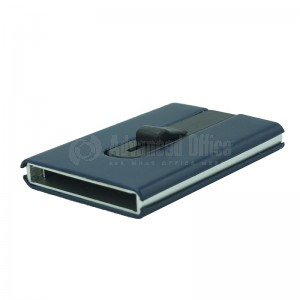 Porte carte magnétique à mécanisme bouton poussoir argenté à couverture pastique Bleu nuit