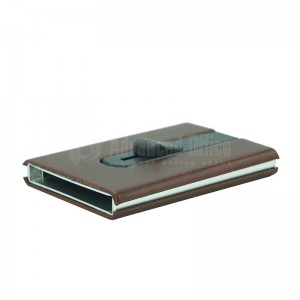 Porte carte magnétique à mécanisme bouton poussoir argenté à couverture plastique Marron