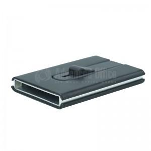 Porte carte magnétique à mécanisme bouton poussoir argenté à couverture plastique Noir
