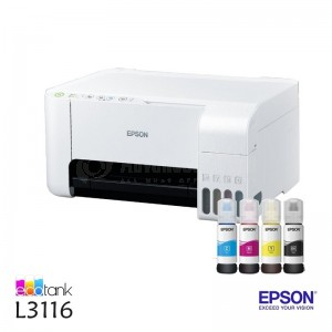 Imprimante Multifonction Jet d'encre EPSON EcoTank L3116, Couleurs, A4, 33ppm/15ppm, USB, Blanc
