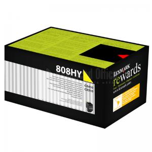 Toner LEXMARK 808h Yellow pour CX410/CX510 haute capacité