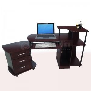 Table en bois pour PC, Tiroir clavier, emplacement imprimante, avec caisson mobile 3 tiroirs à clé, Marron  -  Advanced Office