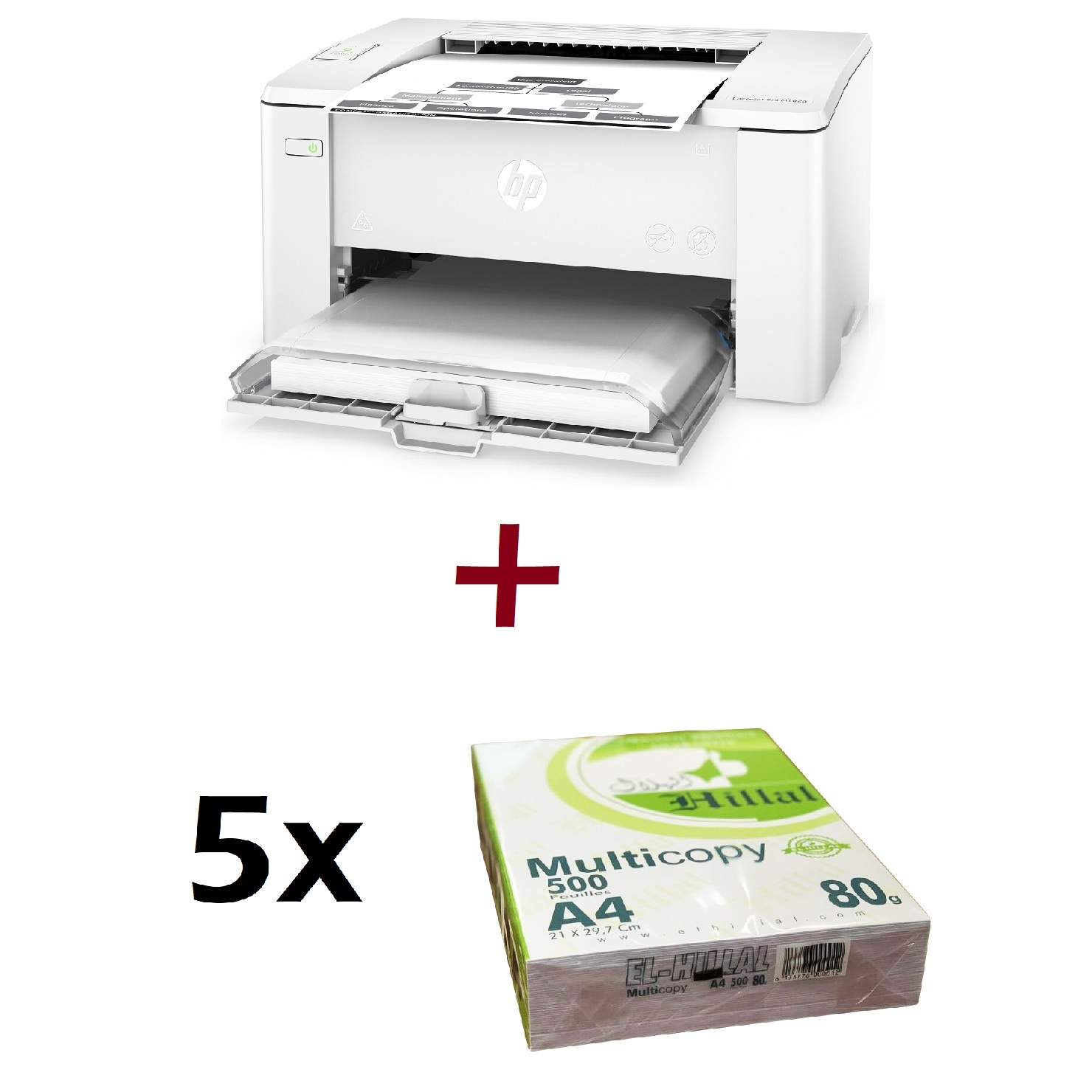Imprimante HP LaserJet Pro M102a, Monochrome , A4, 22ppm, USB + 5 Rames de Papier Blanc El Hillal