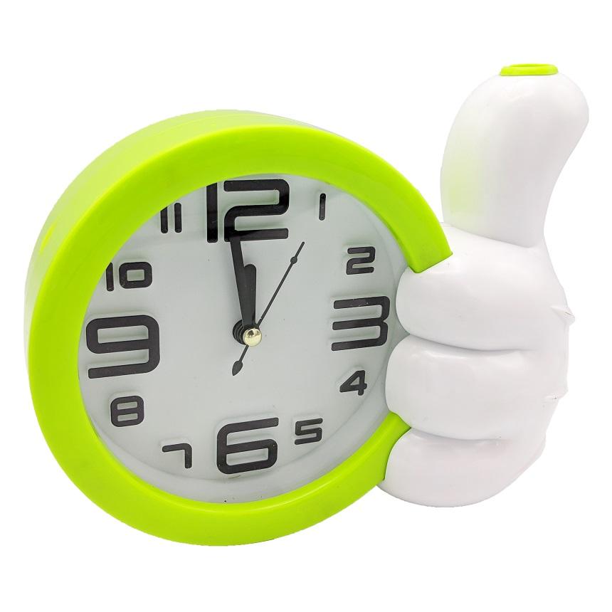 Réveil enfant GOLDEN FEATHER CD215B horloge rond avec un pouce en l'air porte stylo