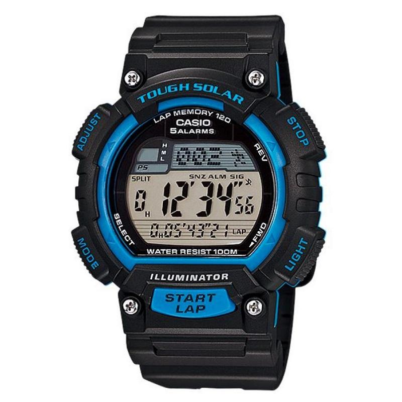 Montre Sport Homme CASIO S100H Tough Solar, Chronomètre 1/100 sec, Heure mondiale, Bracelet en résine, Bleu