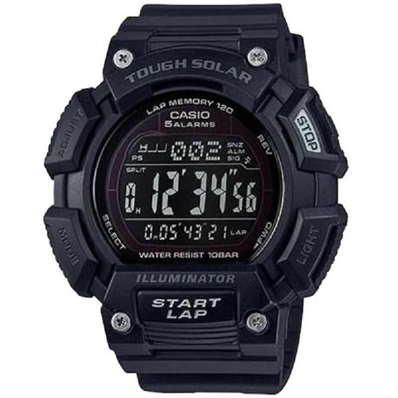 Montre Sport Homme CASIO S110H Tough Solar, Chronomètre 1/100 sec, Heure mondiale, Bracelet en résine, Noir