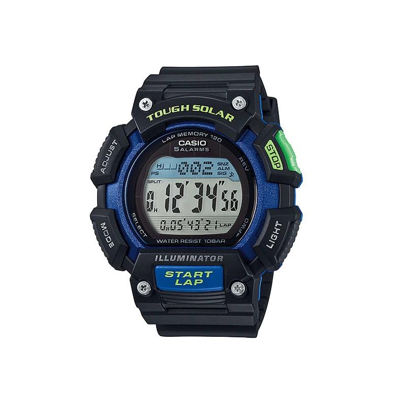 Montre Sport Homme CASIO S110H Tough Solar, Chronomètre 1/100 sec, Heure mondiale, Bracelet en résine, Bleu