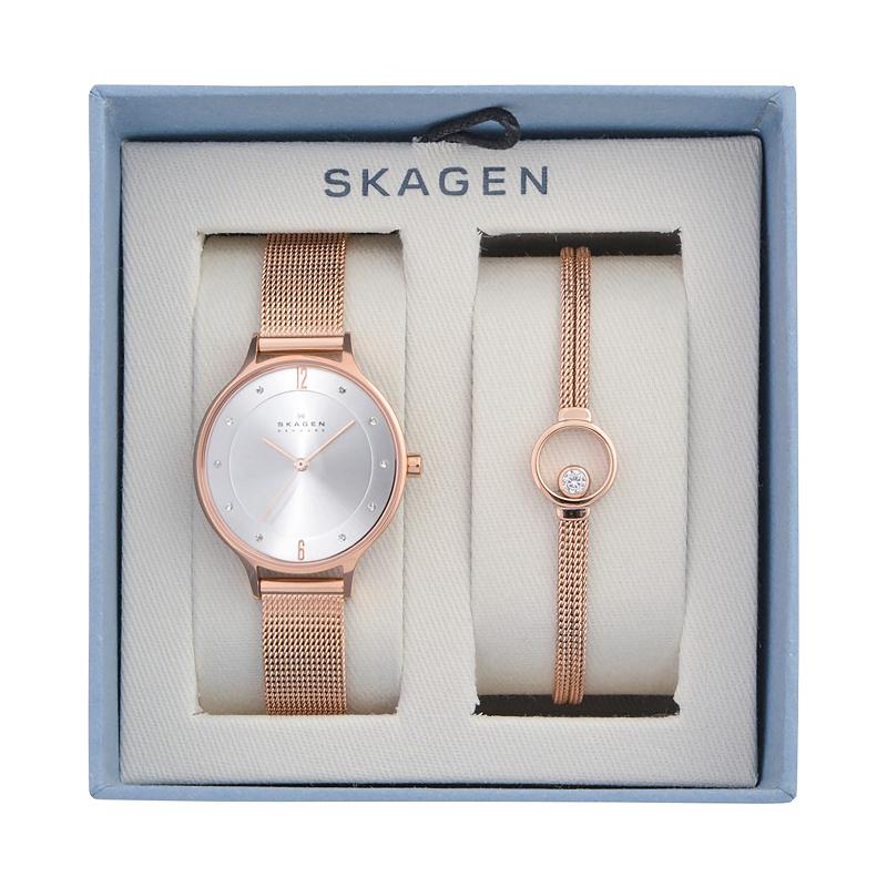 Montre femme SKAGEN SKW1096 Bracelet maille avec gourmette Or rose