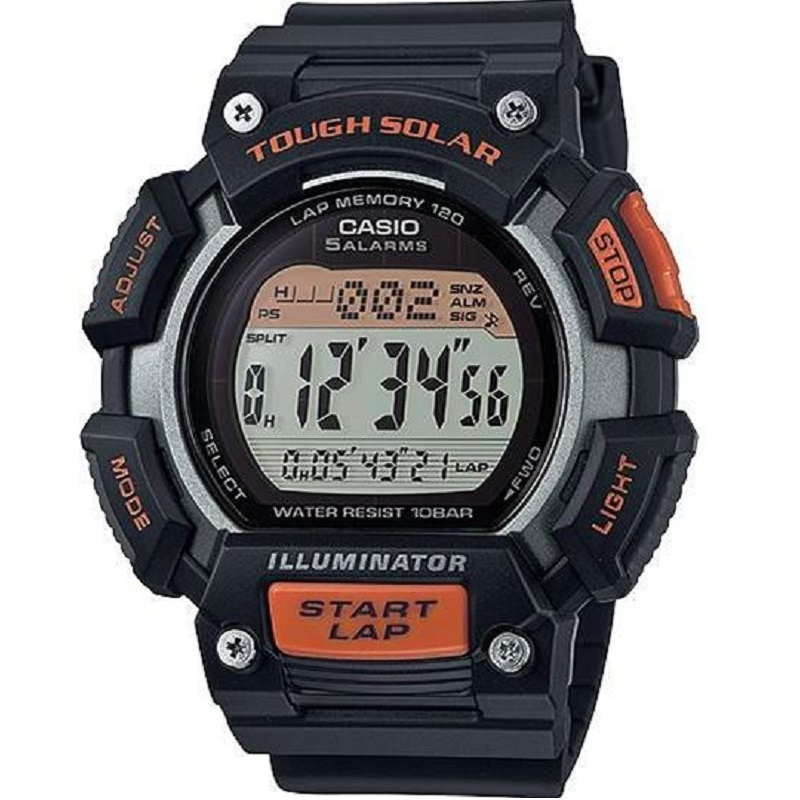Montre Sport Homme CASIO S110H Tough Solar, Chronomètre 1/100 sec, Heure mondiale, Bracelet en résine, Orange